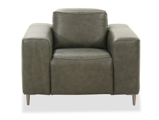Casual Leather Power Recliner in Green