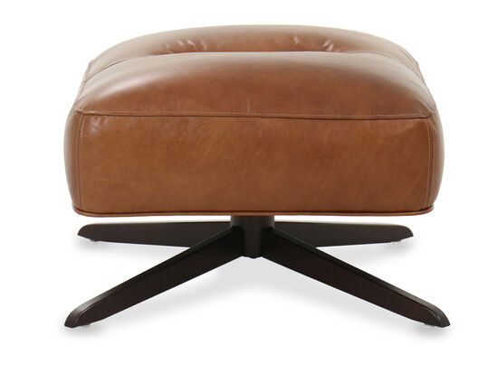 Casual Tufted Leather Ottoman in Caramel
