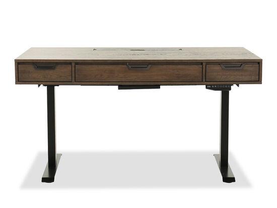 Cottage Three-Drawer Rectangular Desk in Dark Brown