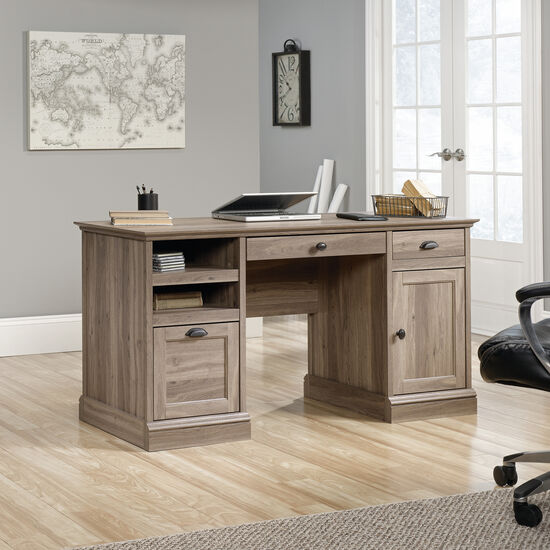 "59"" Traditional Two-Drawer Executive Desk in Salt Oak"