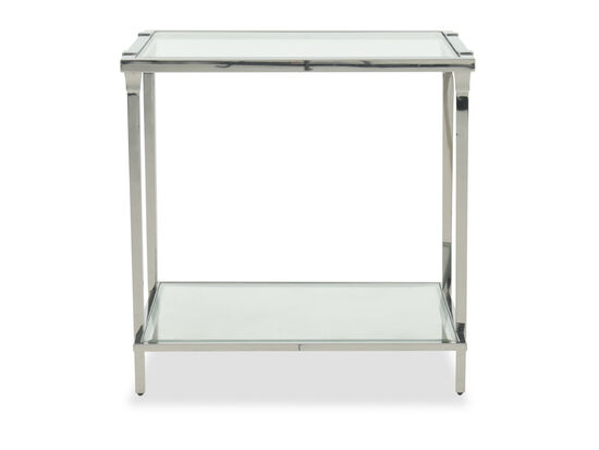 Modern Metal End Table in Silver