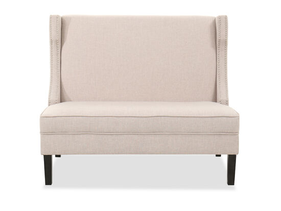 "32.5"" Nailhead-Accented Settee in Oyster"