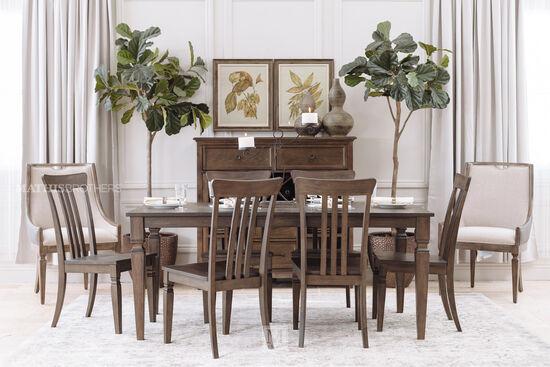 Seven-Piece Solid Wood Dining Set in Dark Walnut