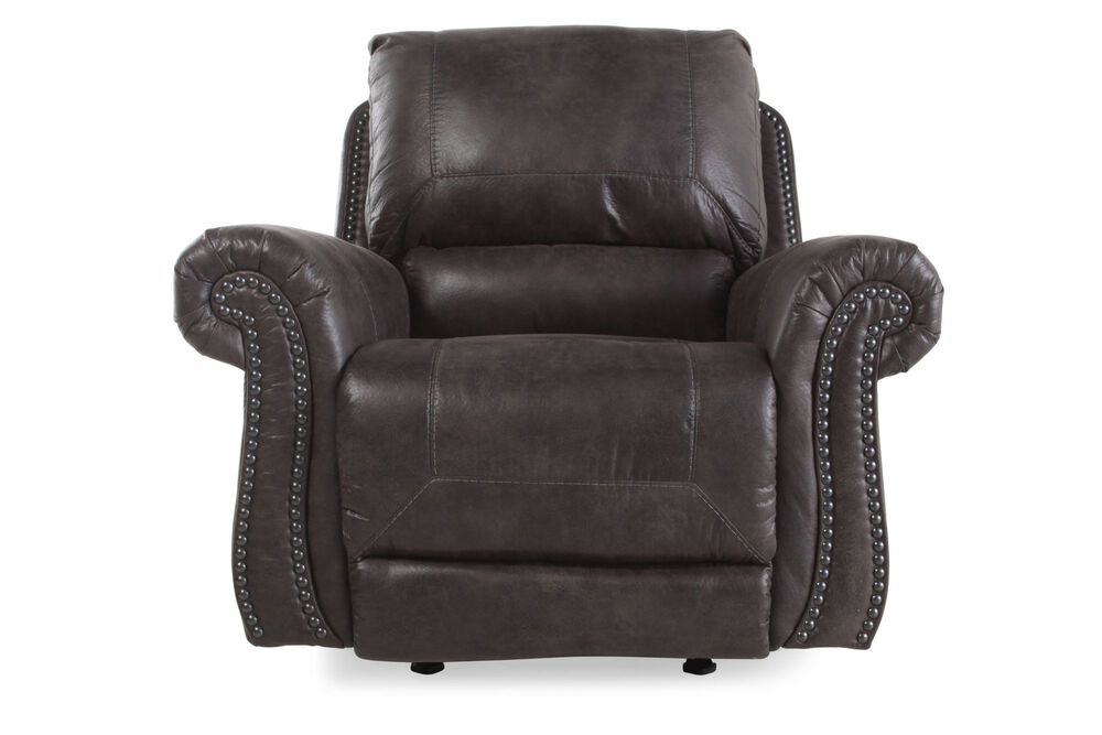 Nailhead-Trimmed Traditional Rocker Recliner in Charcoal