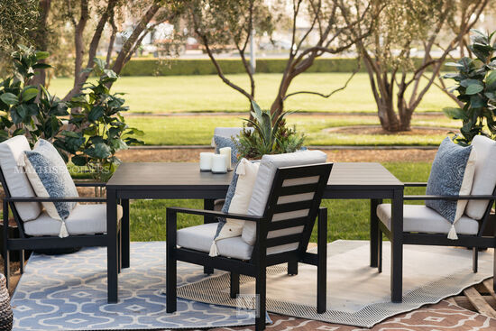 """72"""" Modern Aluminum Patio Dining Table in Black"""