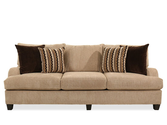 "Rolled Arm Traditional 97"" Sofa in Brown"