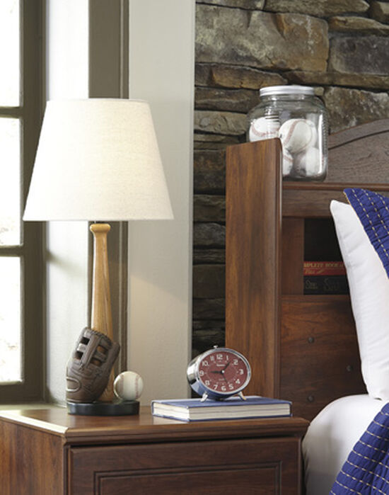 Contemporary Baseball Motif Table Lamp in Brown