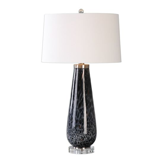Crystal Foot Mottled Table Lamp in Dark Charcoal