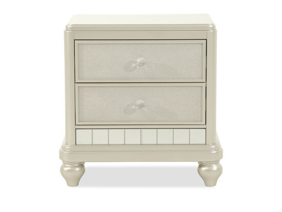 Transitional Paneled Two-Drawer Youth Nightstand in Silver