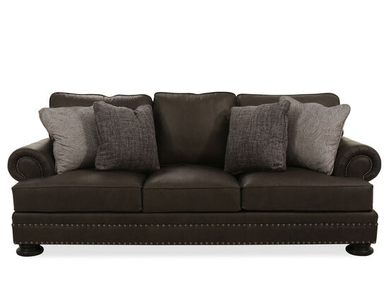 """Contemporary Nailhead-Accented 98"""" Sofa in Brown"""