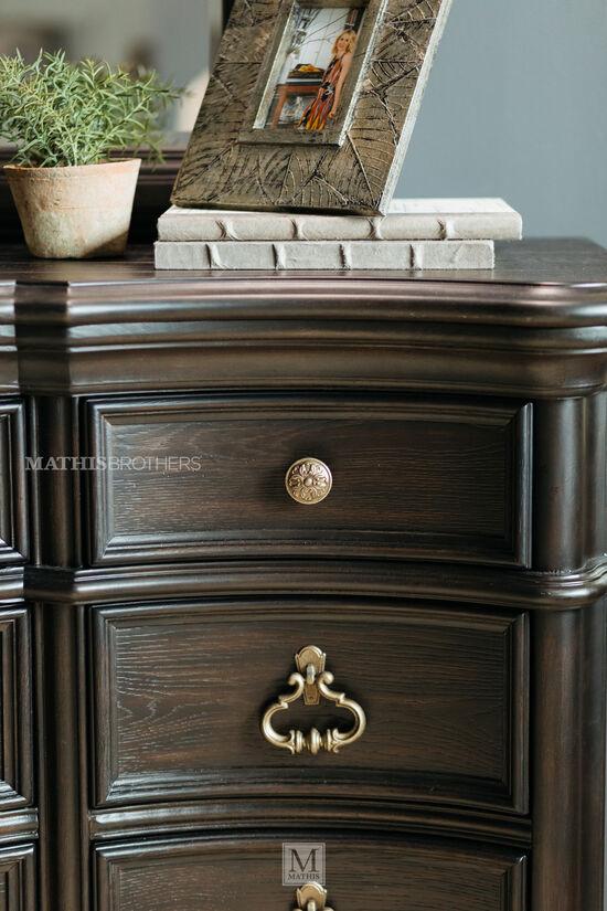 "44"" Refined Romantic Luxury Curved Dresser in Dark Brown"