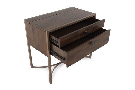 Contemporary Two-Drawer Nightstand in Brown