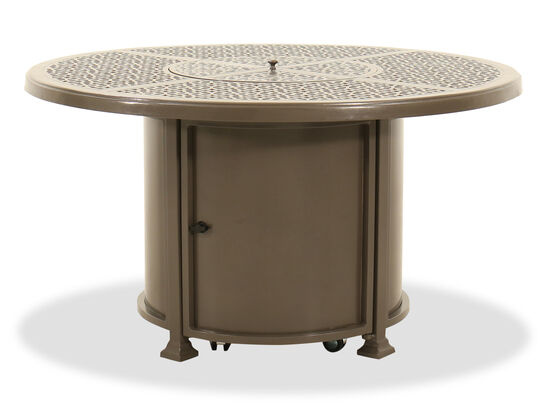 Circular Cast Aluminium Fire Pit Table in Brown