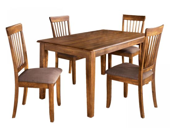 Five-Piece Microfiber Casual 60'' Dining Set in Dark Hickory