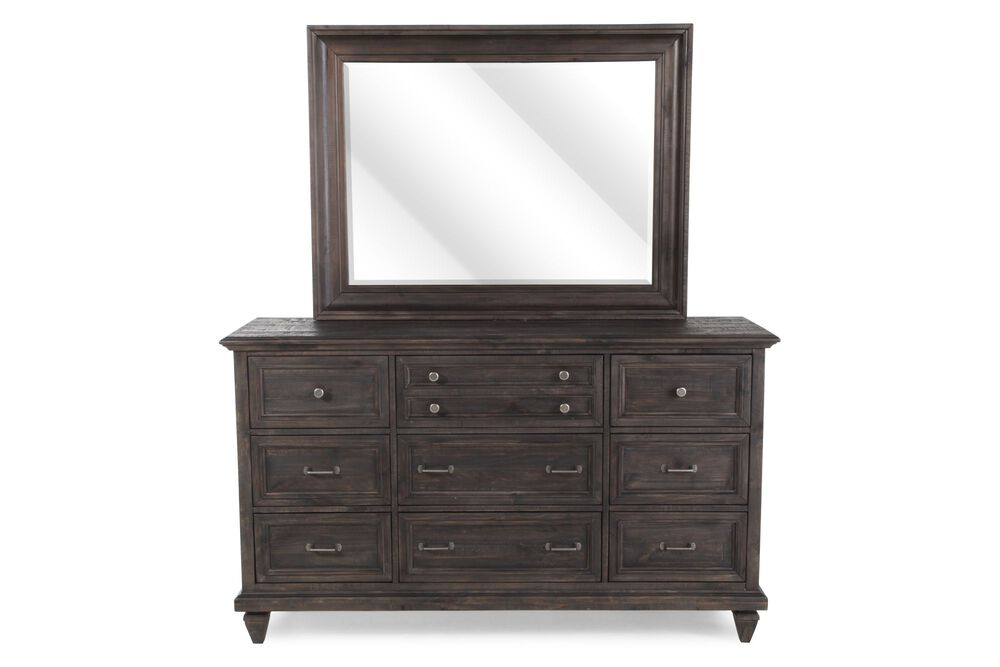 Two-Piece Distressed Dresser and Mirror in Charcoal