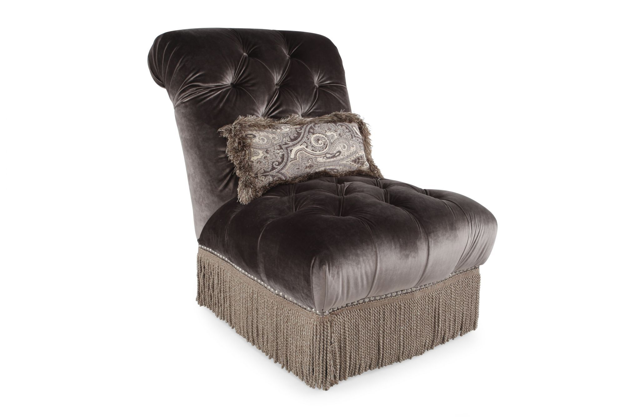 """Button-Tufted Traditional 33"""" Chair In Dark Purple"""