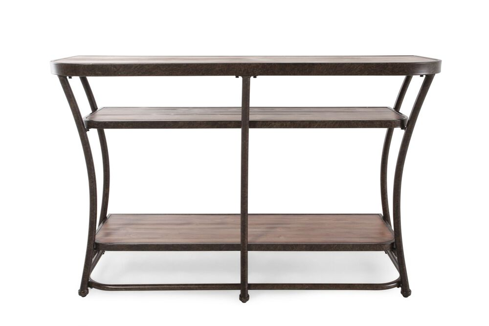 Two-Shelf Casual Sofa Table in Rustic Pine | Mathis Brothers Furniture