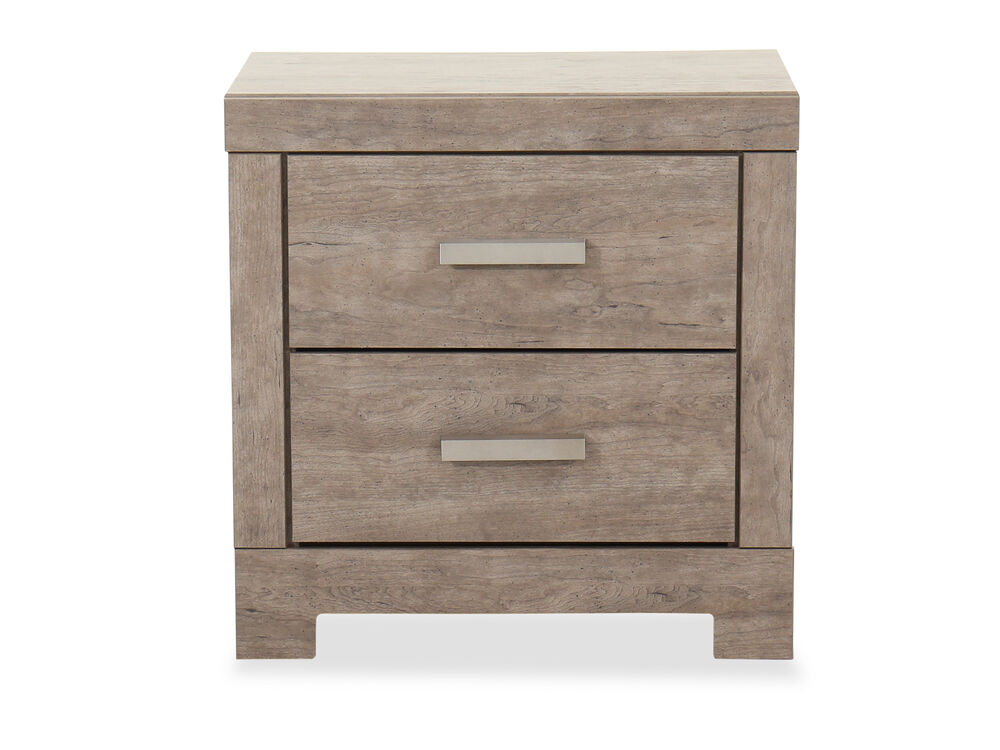 """24"""" Casual Two-Drawer Nightstand in Weathered Driftwood"""