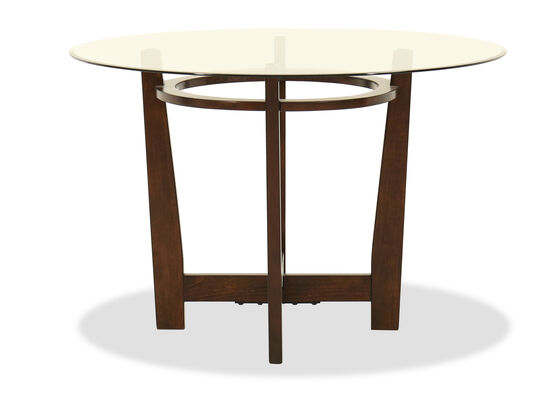 "Contemporary 45"" Beveled Glass Dining Table in Medium Brown"