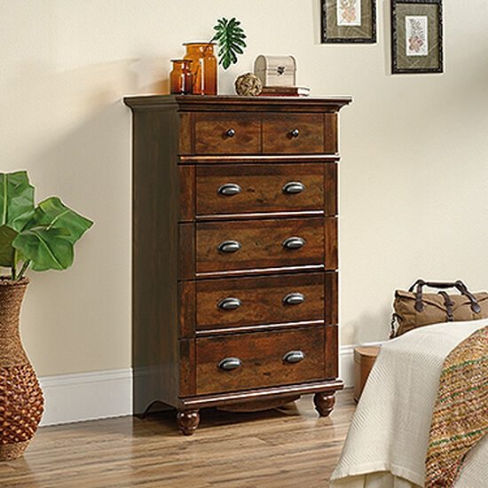 """50"""" Contemporary Five-Drawer Chest in Curado Cherry"""