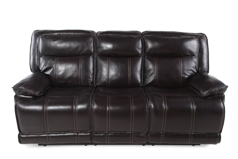 Images Leather 87 Reclining Sofa In Dark Coffee