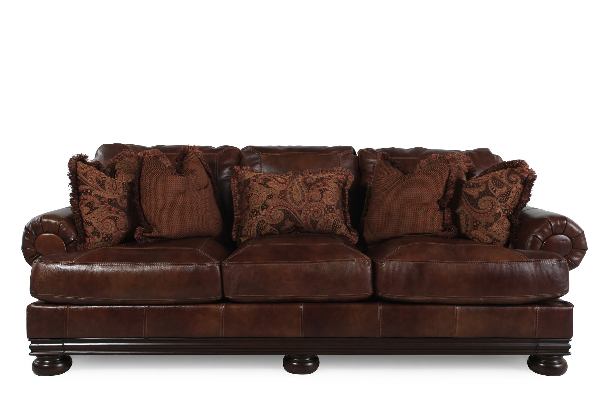 """Pillow-Back Leather 101"""" Sofa In Chestnut Brown"""