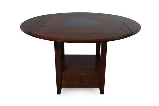 "Traditional 42"" to 60"" Drop Leaf Lazy Susan Dining Table in Distressed Walnut"