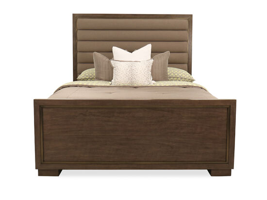 "72"" Modern King Panel Bed in Dark Brown"