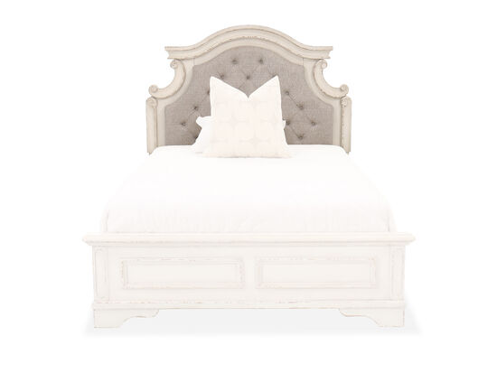 """58"""" Button-Tufted Youth Full Panel Headboard in Chipped White"""