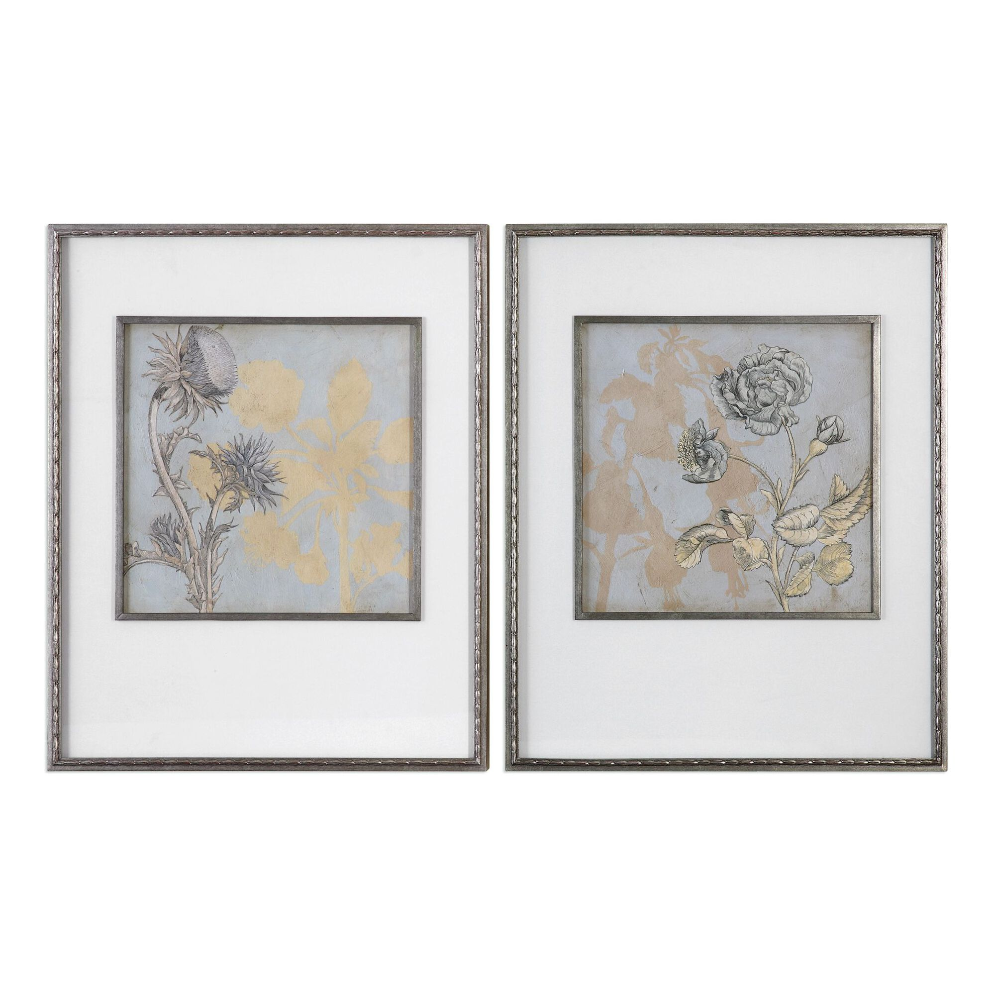 Wall Art Decor Sets: Two-Piece Floral Printed Framed Wall Art Set