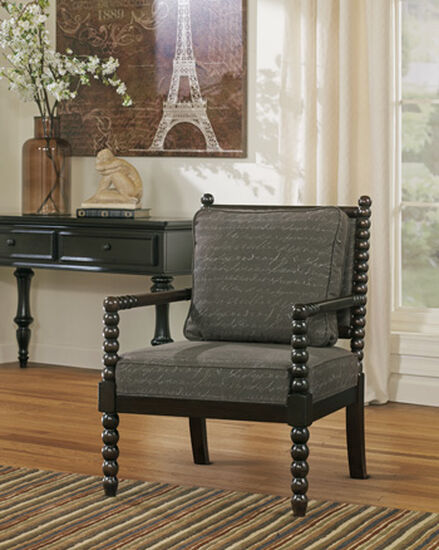 "Script Printed Casual 29"" Accent Chair in Gray"