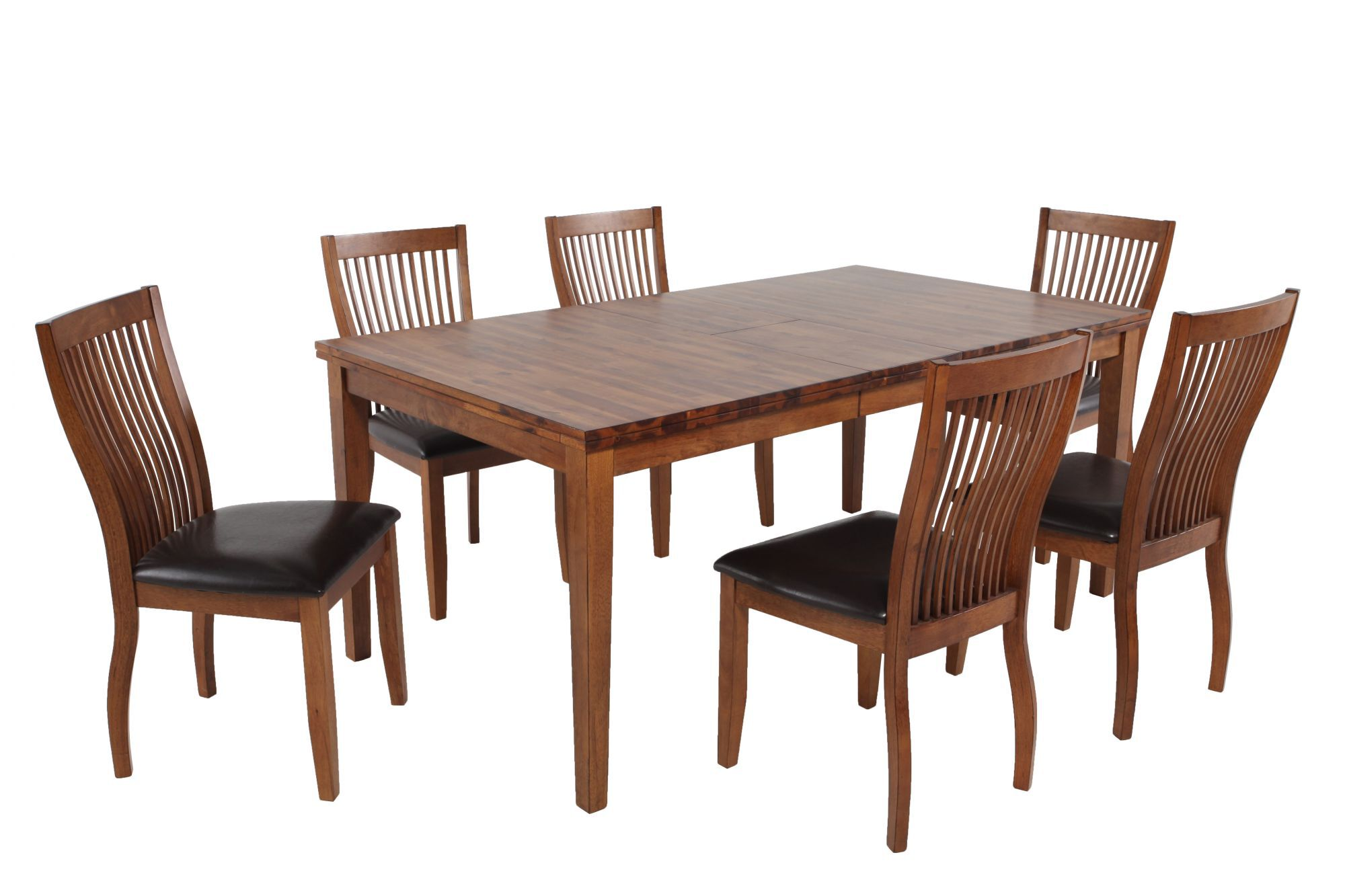Traditional dining room furniture Modern Sevenpiece Traditional Dining Set In Brown Mathis Brothers Dining Room Sets Kitchen Furniture Mathis Brothers