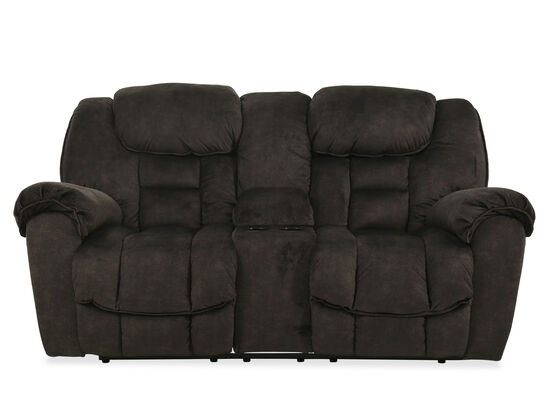 "Reclining Modern 81"" Loveseat in Warm Gray"