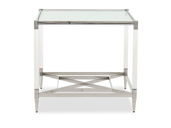 Contemporary Square End Table in Silver
