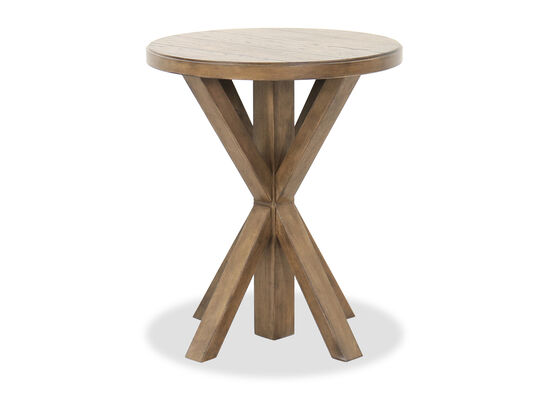 Round Casual End Table in Dark Brown