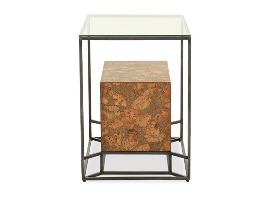 Casual Glass Top Chairside Table in Gray
