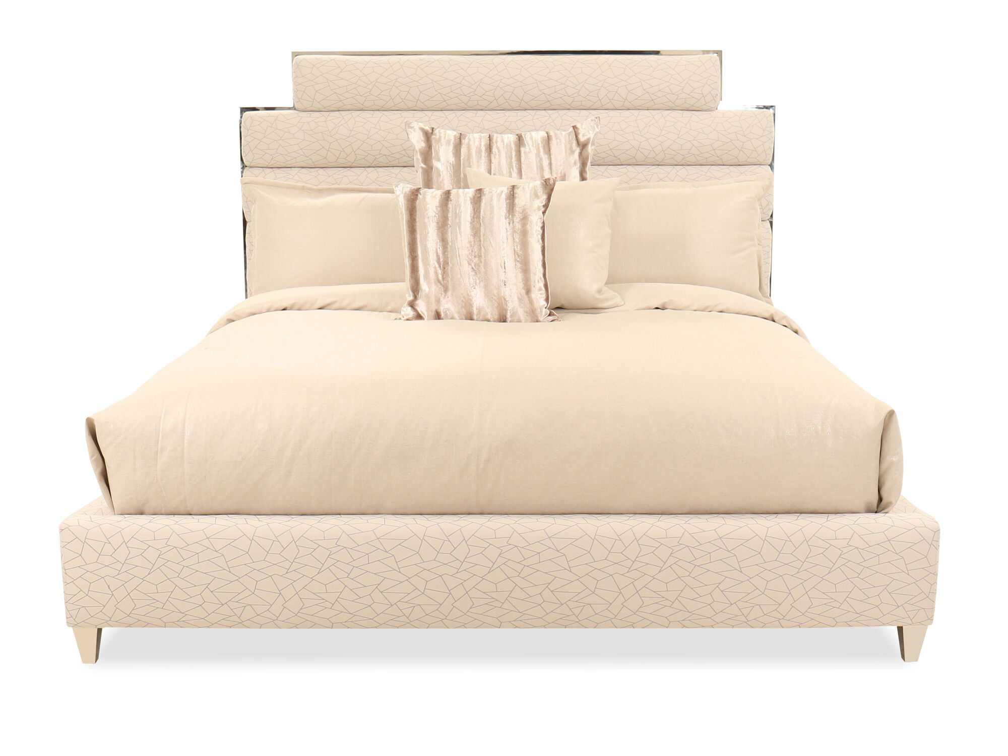 Contemporary Quilted Bed in Beige | Mathis Brothers Furniture