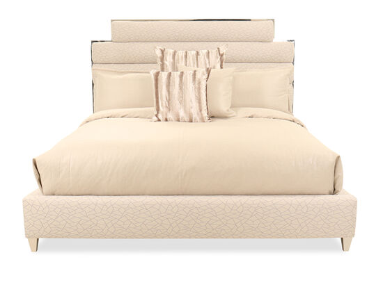 Contemporary Quilted Queen Bed in Beige