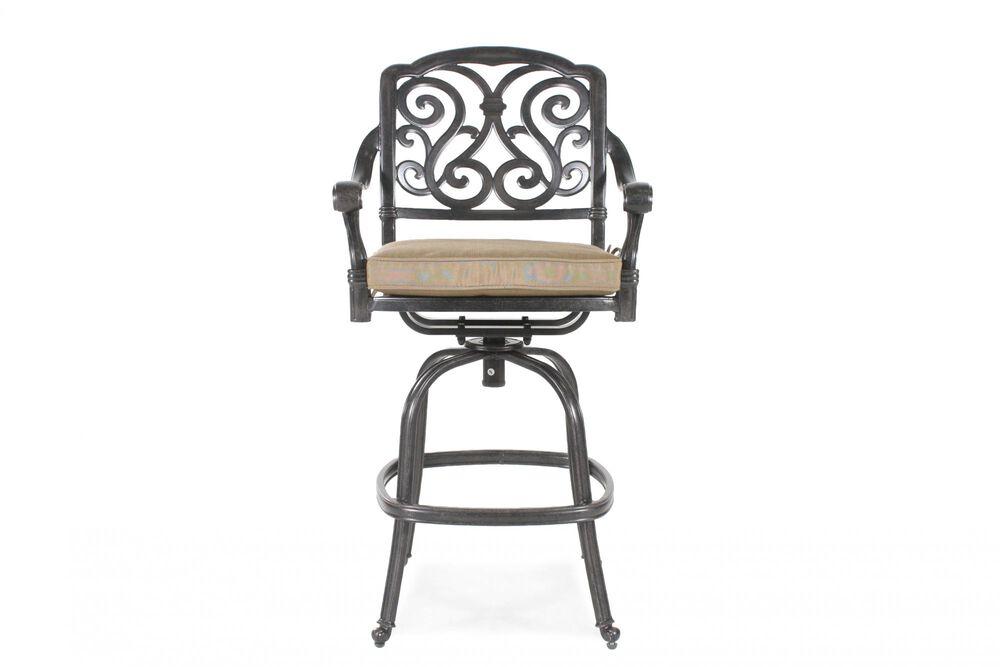 Scroll-Back Aluminum Swivel Bar Stool with Cushion in Black