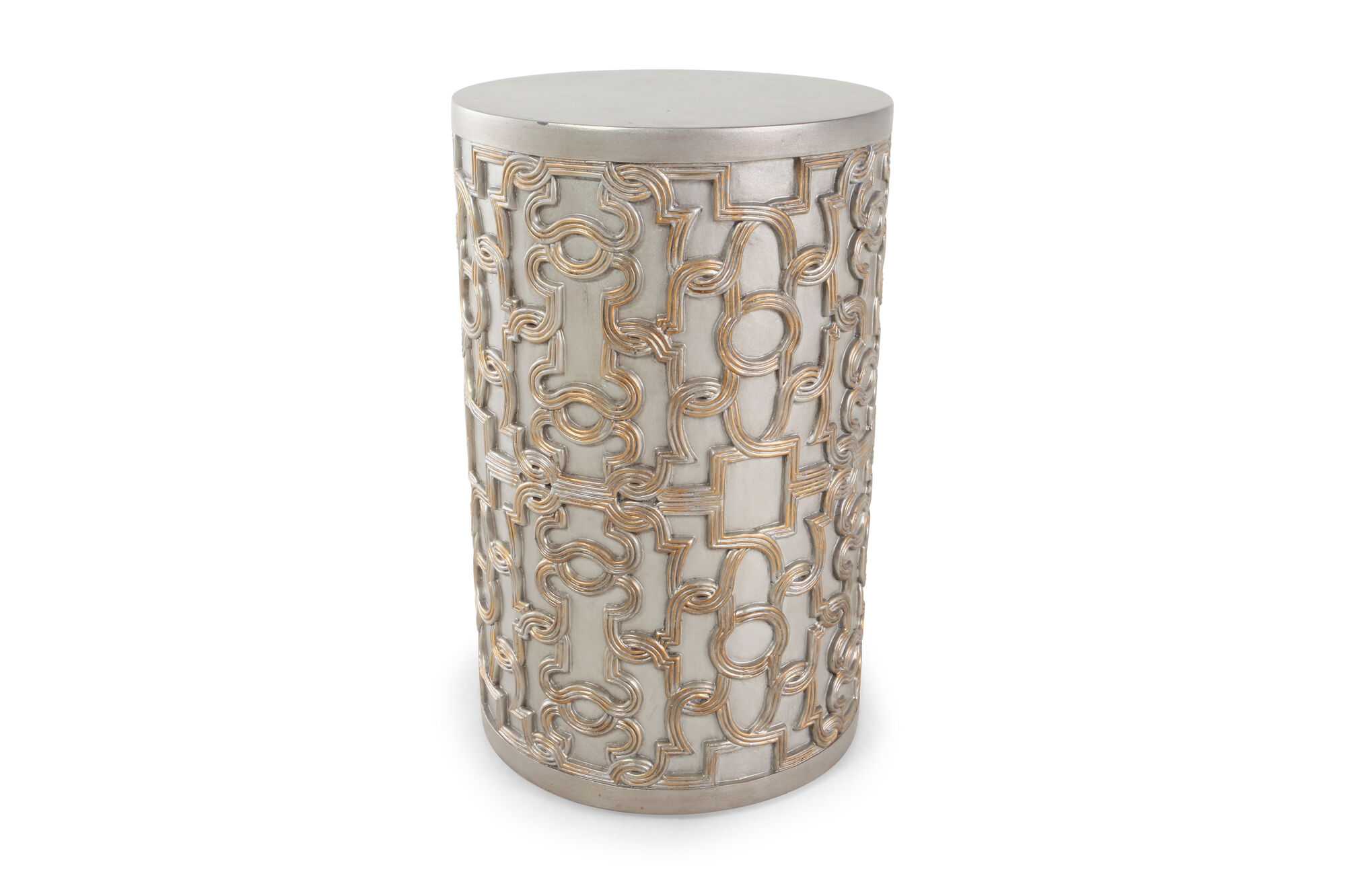Transitional Drum End Table Nbsp In Silver