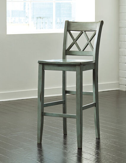 "Casual 45"" X-Back Bar Stool in Green"
