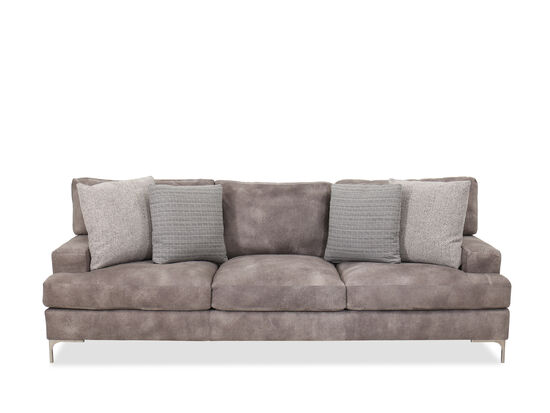 Casual Leather 95'' Sofa in Gray