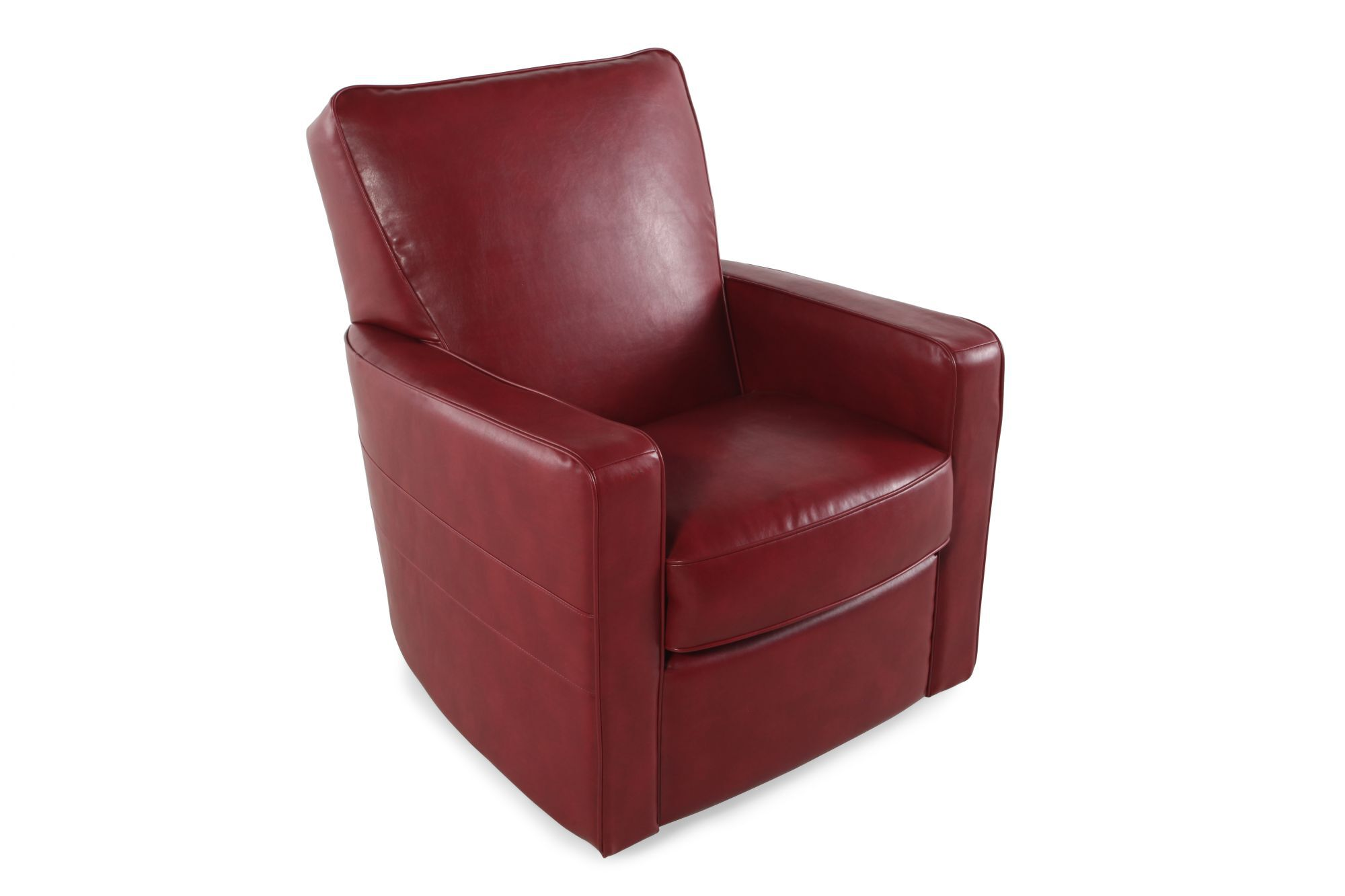 Low Profile Contemporary Swivel Glider Recliner In Berry