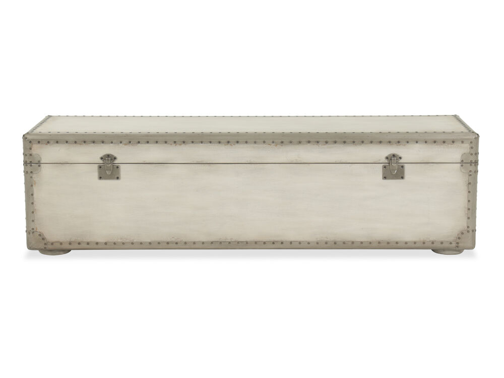 """Nailhead Accented European Classic 60"""" Storage Bench in White"""