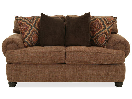 "Transitional 73"" Rolled Arm Loveseat in Brown"