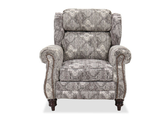 "Nailhead-Accented 39"" Pressback Recliner in Stone"