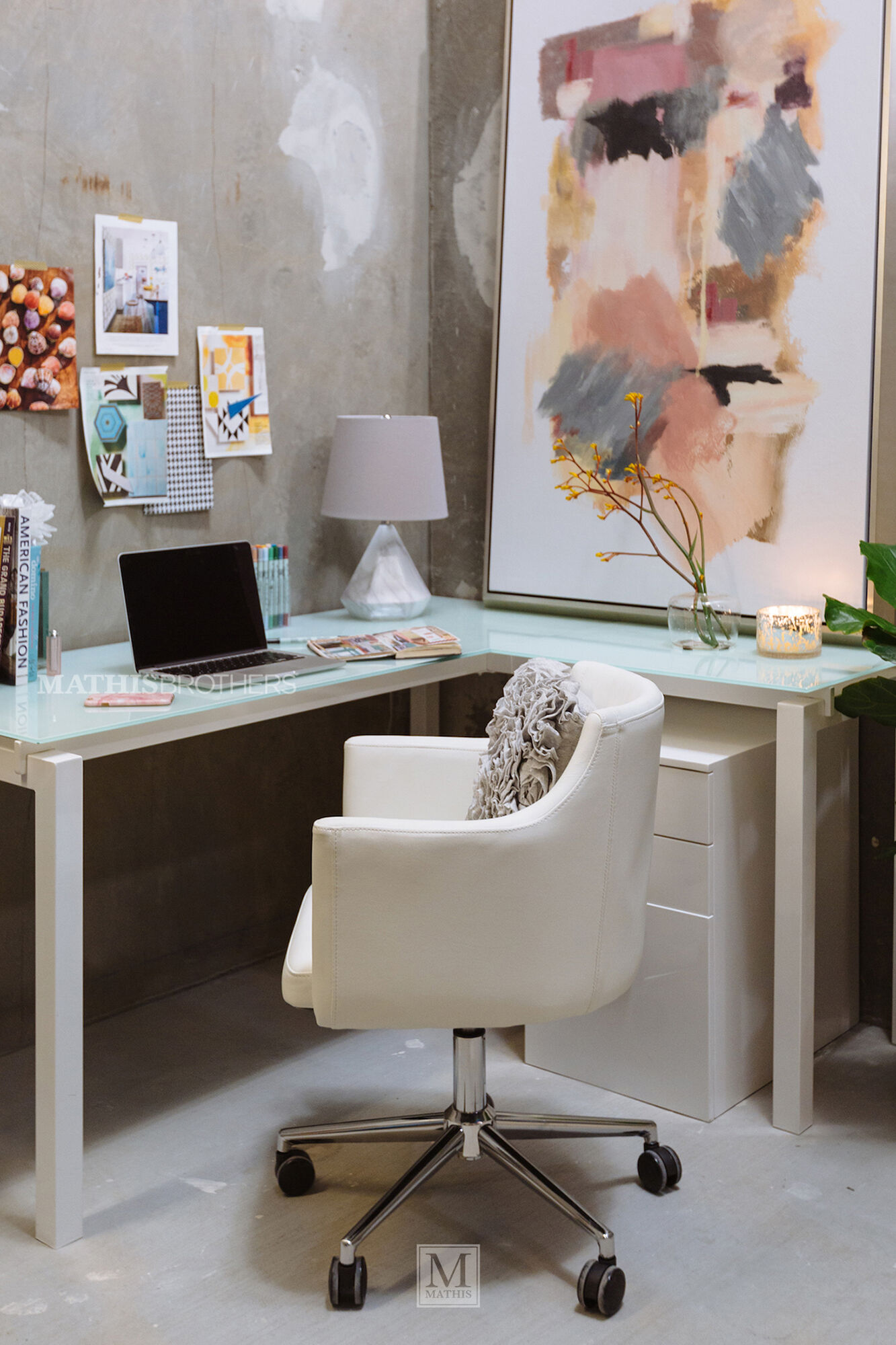 61 Quot Contemporary L Shaped Desk In White Mathis Brothers Furniture