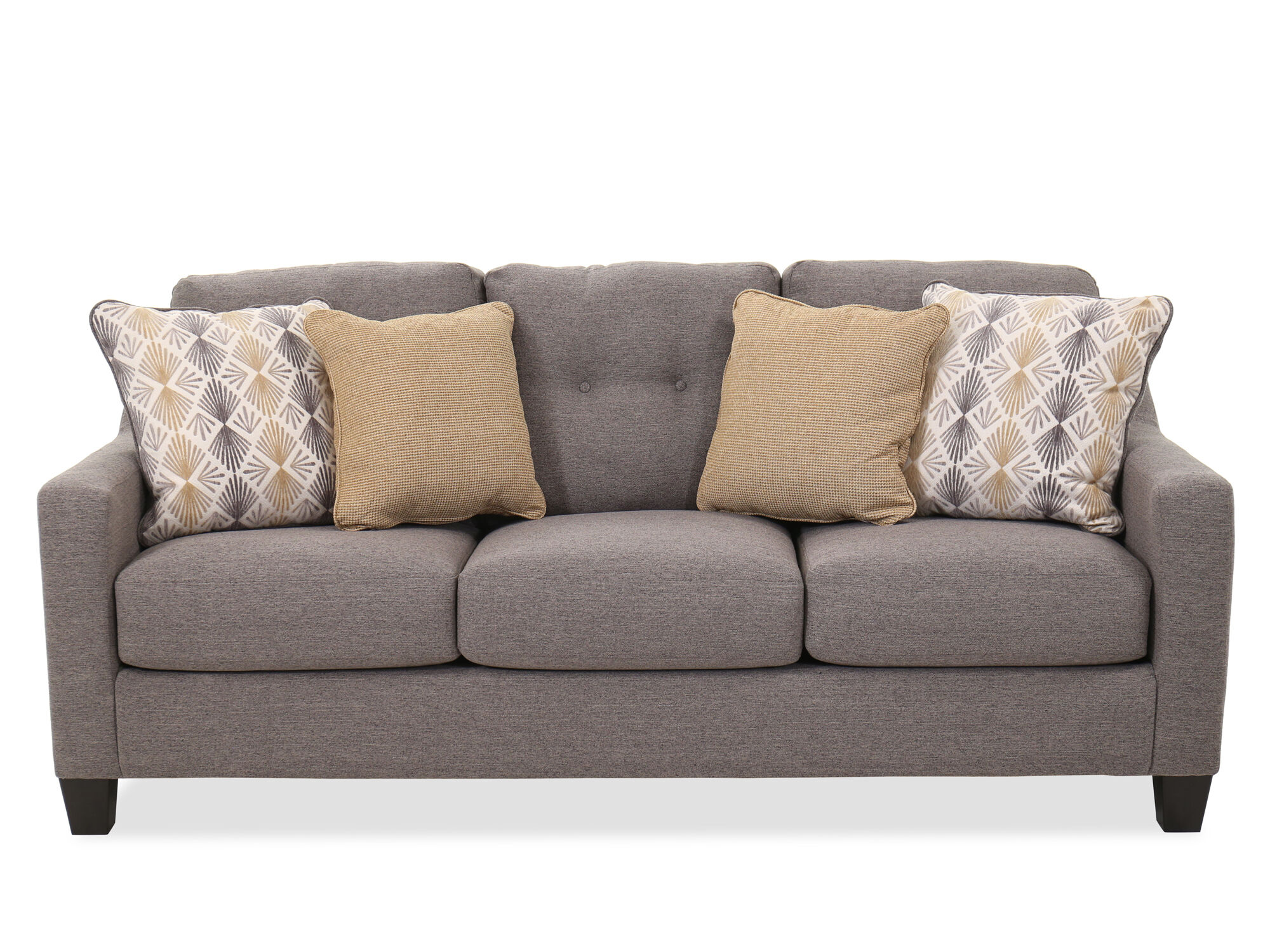 Button Tufted Contemporary 80 Sofa In Graphite Mathis Brothers