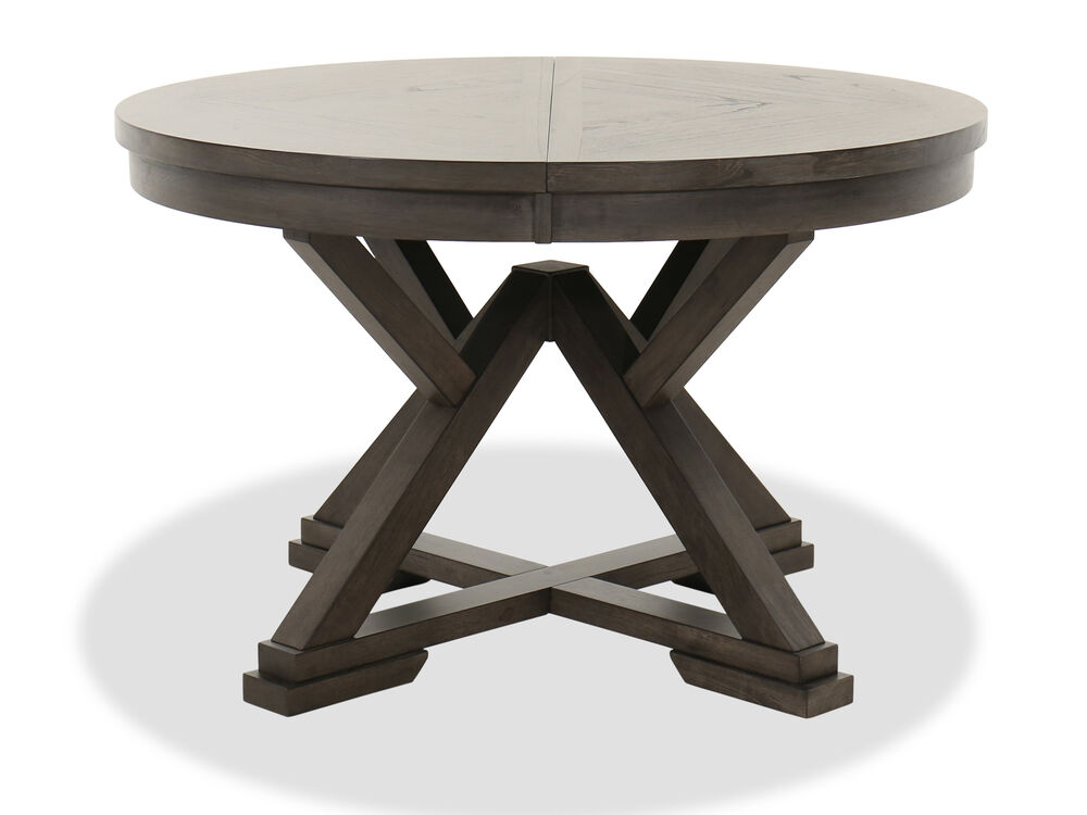 """Transitional 48"""" to 66"""" Round Extension Dining Table in Brown"""