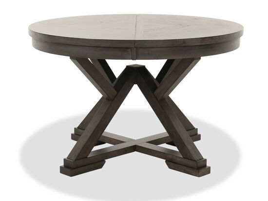 "Transitional 48"" to 66"" Round Extension Dining Table in Brown"